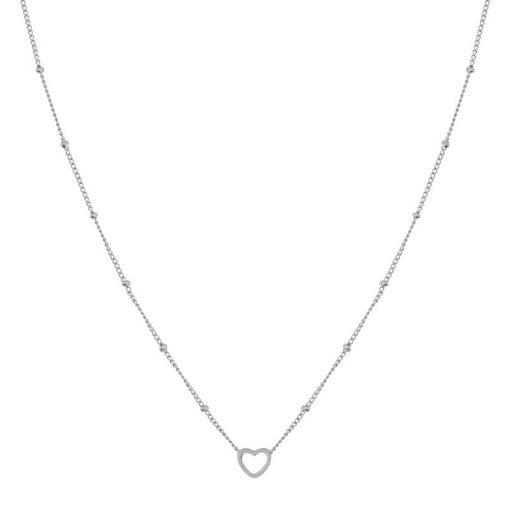 Necklace open heart silver