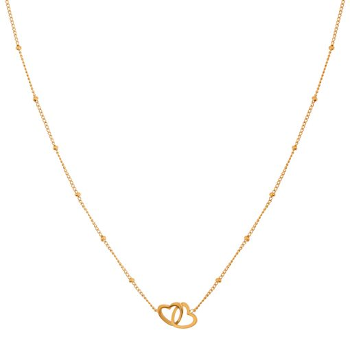 Necklace two hearts gold
