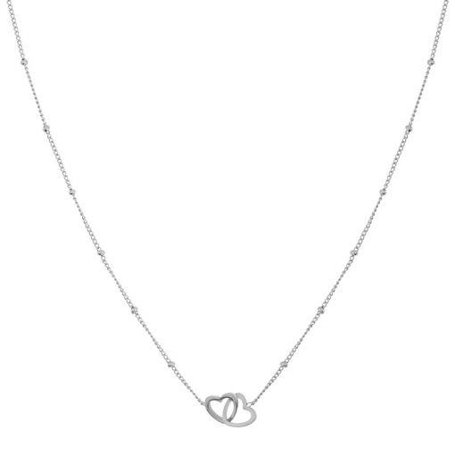Necklace two hearts silver